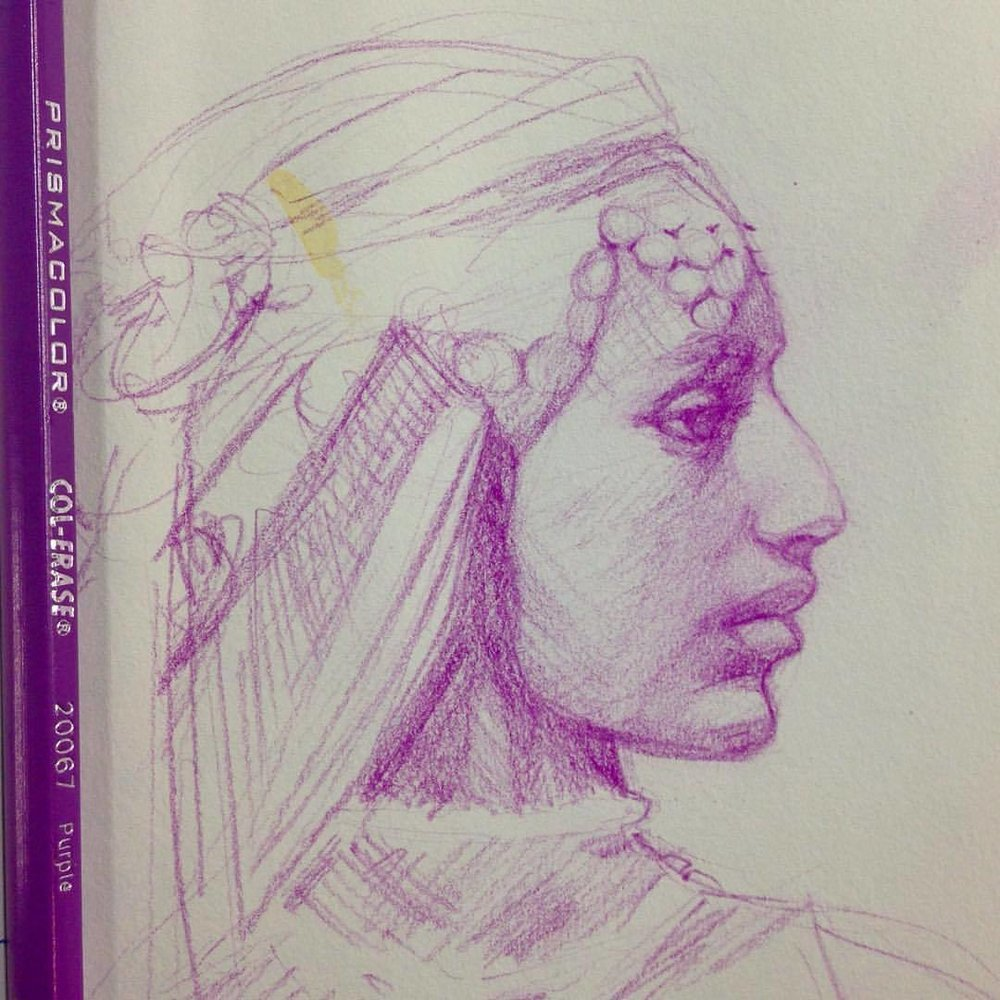 Study of middle Eastern lady in purple #study #sketch #belindaillustrates #2016 #middleeasternlady #portrait #profile #colerasepencils