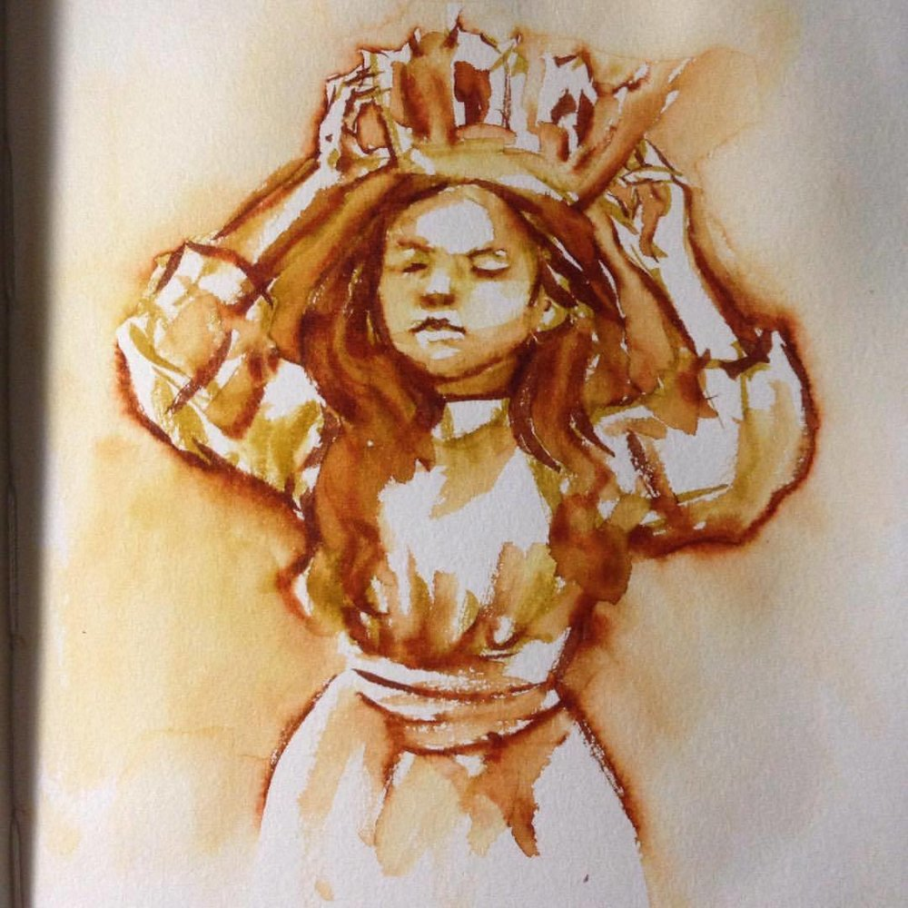 Little girl study with Japanese water soluble markers and aqua brush #belindaillustrates #2016 #portrait #japanesemarkersarefuckingcool #waterbrushpen #sketch #littlegirl #crown #littleprincess #study