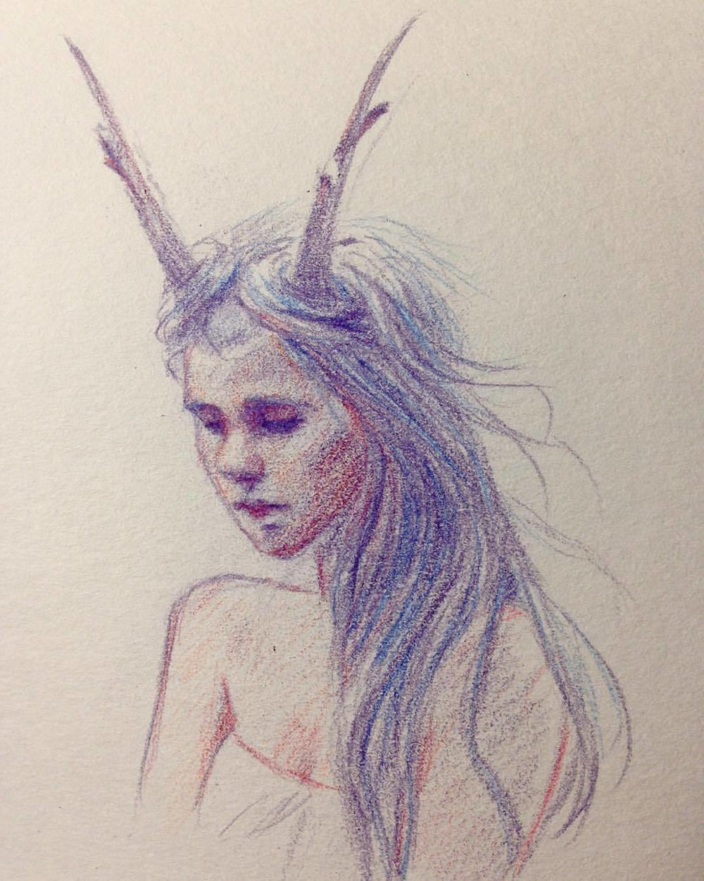 A little contemplation #study #horns  #girlwithhorns #girl #sad #contemplation #prismacolorpencils #portrait #2016 #belindaillustrates