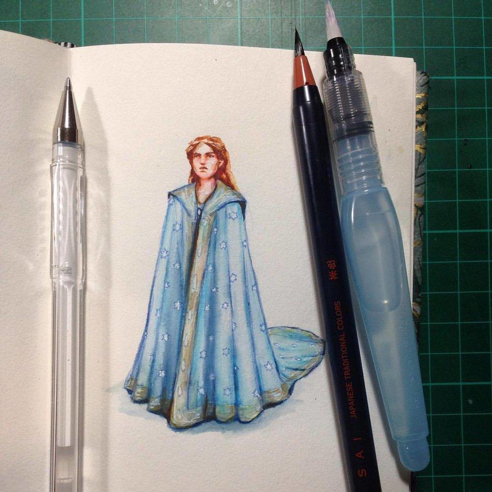 Tiny princess drawing/painting  #2016 #sketch #bluedress #japanesebrushpen #gelpen #belindaillustrates #princess #painting