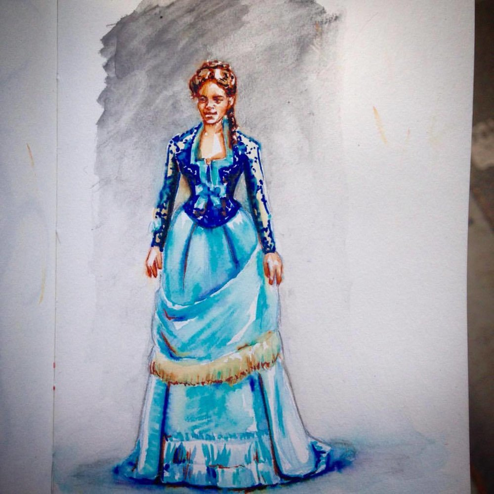 Tiny Victorian lady in blue, done in water soluble textas and a Japanese brush pen with col-erase pencil underneath #belindaillustrates #prettygirl #brushpen #texta #bluedress #victorian #sketch #2016