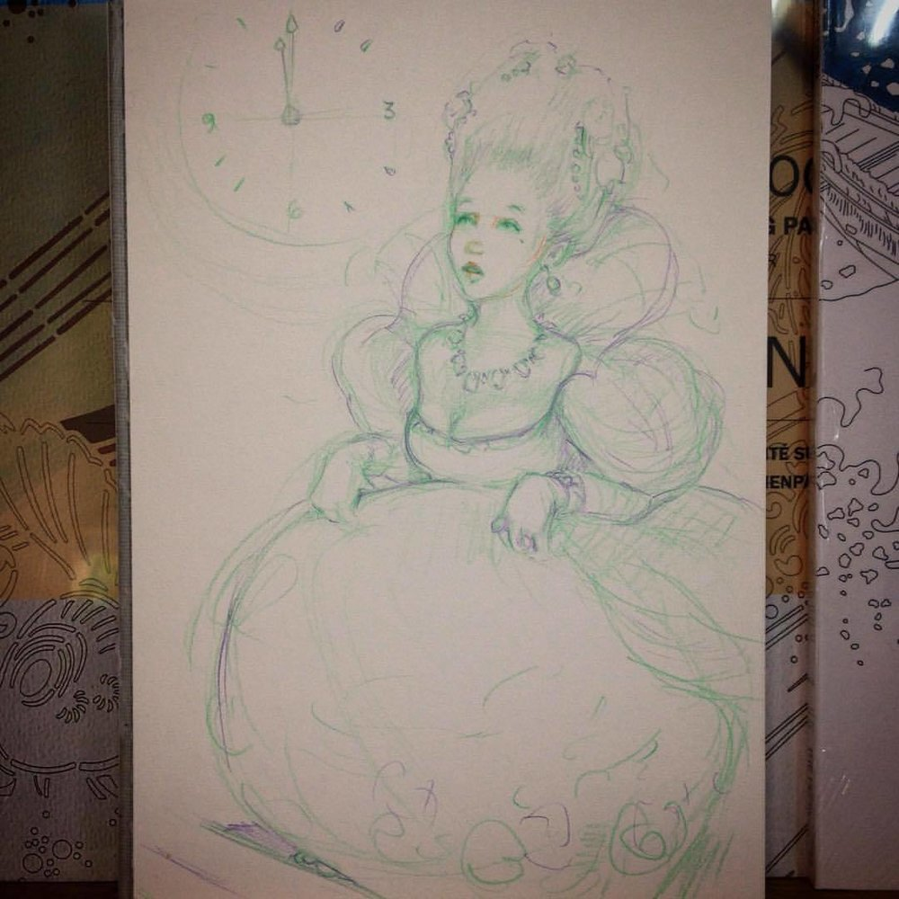 Running late #belindaillustrates #colerasepencil #cinderella #pencildrawing #sketch #2016 #fairtale