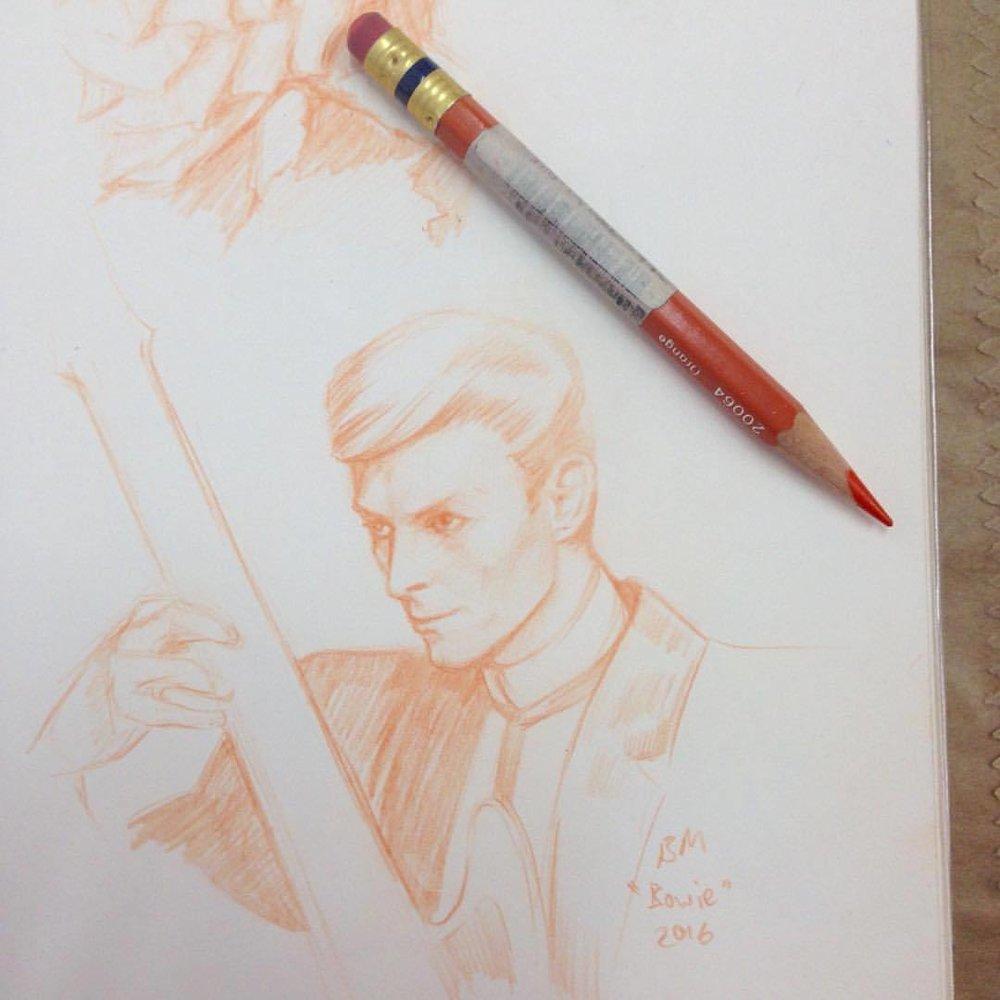 A true inspiration #bowie #davidbowie #davidbowiefanart #davidbowieart #starman #awesomesketch #orange #pencil #orangepencil #colerasepencil #belindaillustrates
