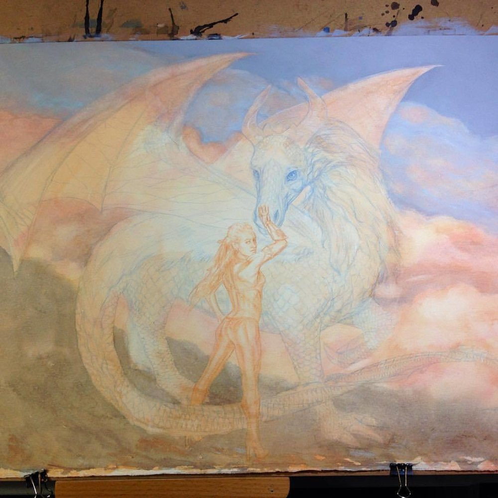 These 2 are coming along nicely… #2015 #belindaillustrates #dragon #dragonrider #fantasyart #artorder #amazonwoman #watercolor #scarystage #wip #almostthere #painting