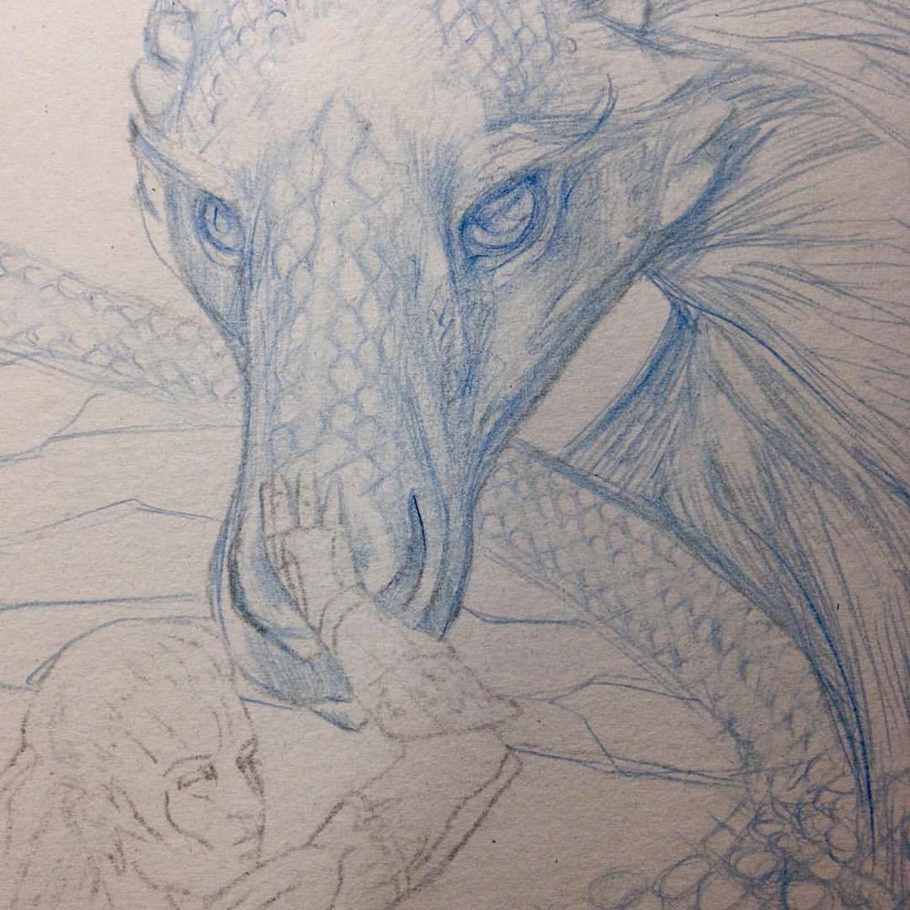 That moment when you realise you are spending too long on details #somanyscales #dragon #dragons #bluedragon #drawing #2015 #belindaillustrates #prismacolorpencils #artorderchallenge #amazonwoman #fantasyart #workinprogress