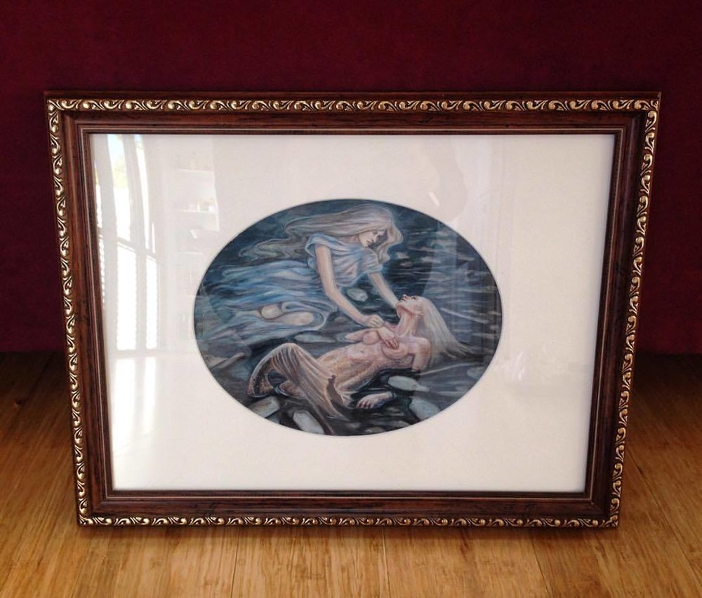 """The Mermaids's Last Breath"" framed and ready for sale. If you're interested in purchasing send me a private message to discuss price ☺️ #fantasy #fantasyart #belindaillustrates #2015 #framedart #mermaidpainting #framedfantasyart #mermaidslastbreath #artforsale #artforsalebyartist"
