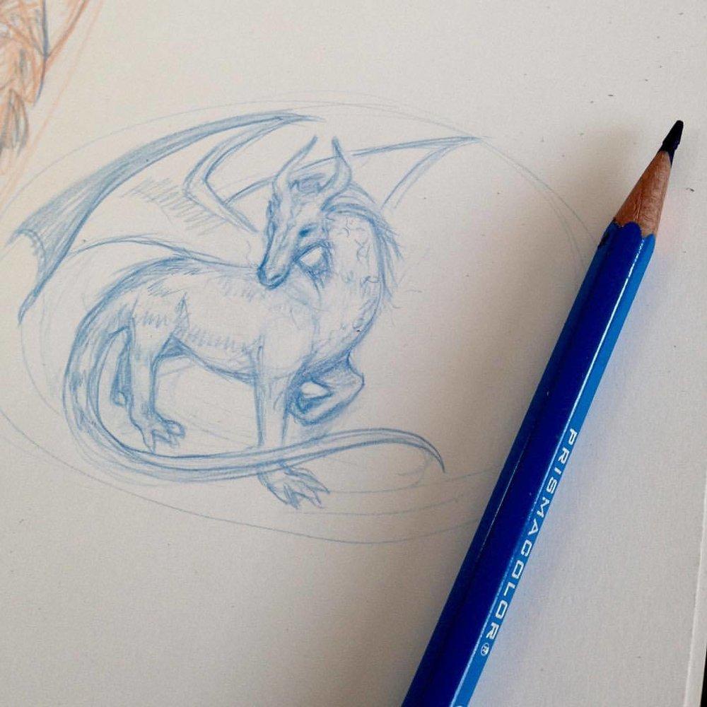 Ferret dragon? #funwithpencils #artorder #artorderchallenge #belindaillustrates #pencils #bluedragon #ferretdragon #prismacolor #prismacolorpencils #fantasyart #fantasy