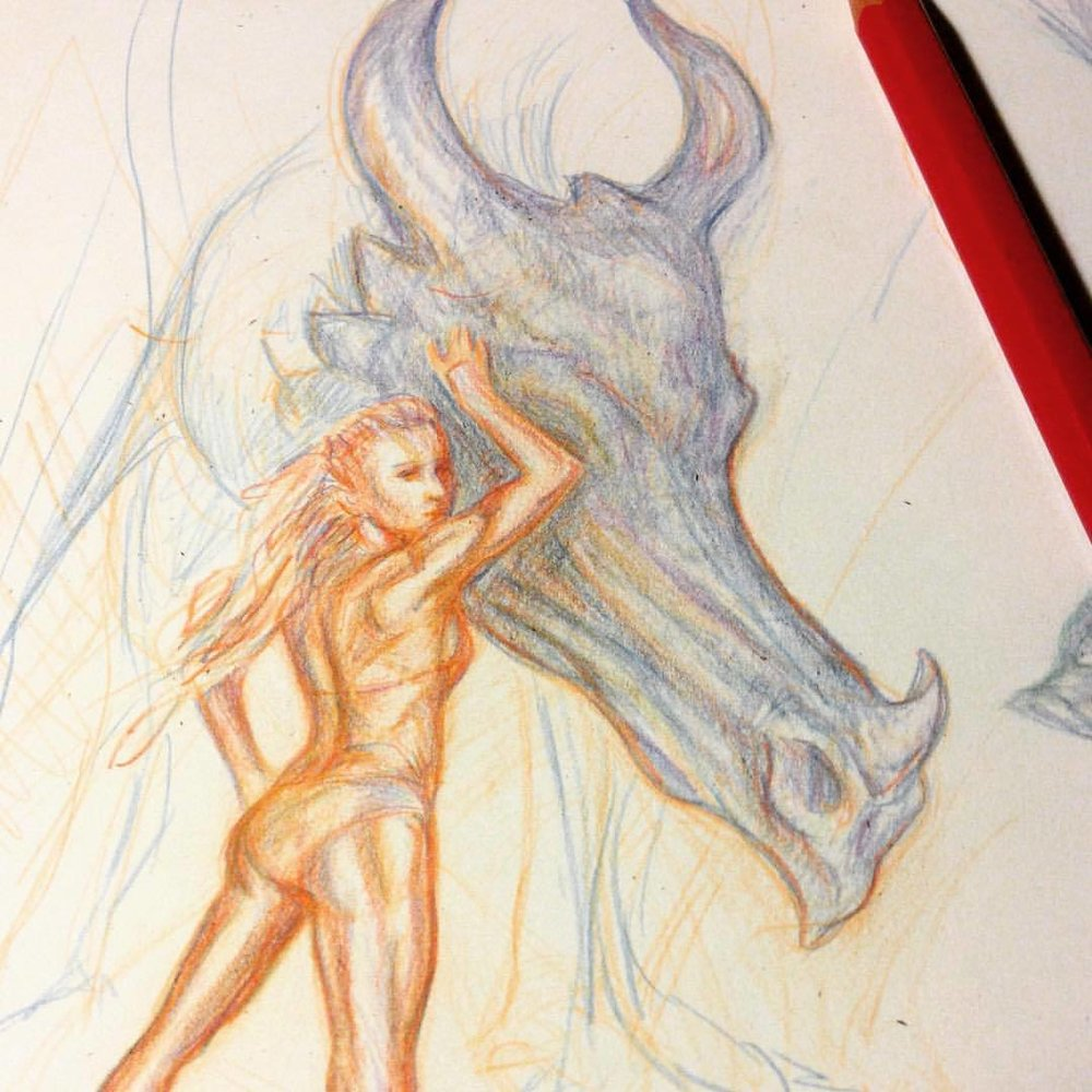 Having fun with my Col-Erase pencils for the Amazons Artorder challenge #inspiredbyBorisVallejoJulieBel #artorderchallenge #artorder #dragon #amazon #amazonwoman #fantasy #colerasepencils #pencils #belindaillustrates #funwithpencils  #artorder #artorderchallenge