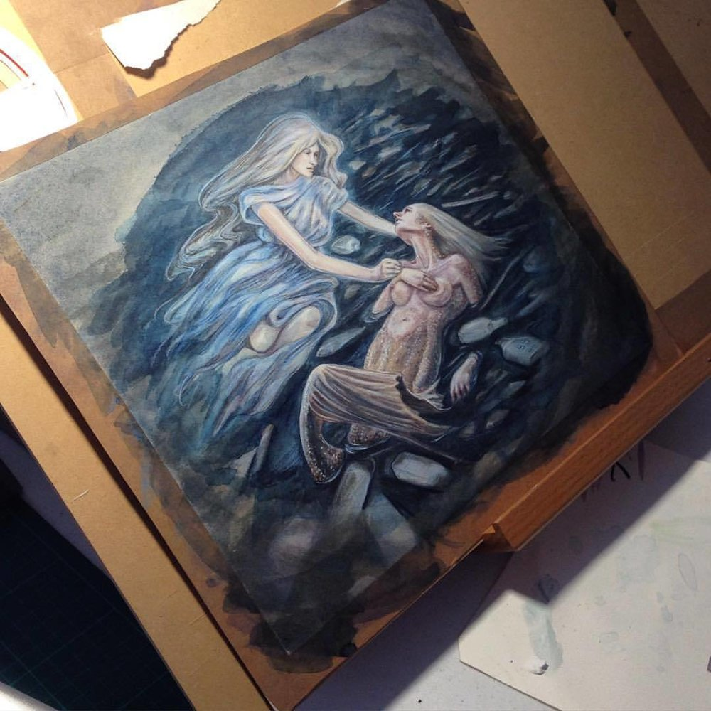 "Yay the painting is finished! Was freaking out a bit when the Stonehenge printmaking paper started to thread up, but once dry I went over it with prismacolor pencils and a white pastel pencil. I was honestly surprised how well that turned out ☺️ ""The Mermaids's Last Breath"" 2015 by Belinda Morris. See the competition submission here  http://www.infectedbyart.com/contestpiece.asp?piece=4574  #mermaidpainting #painting #fantasyart #fantasy #lastbreath #artorder #artorderairchallenge #infectedbyart #pencil #prismacolor #watercolour #watercolorpainting #belindaillustrates #2015"