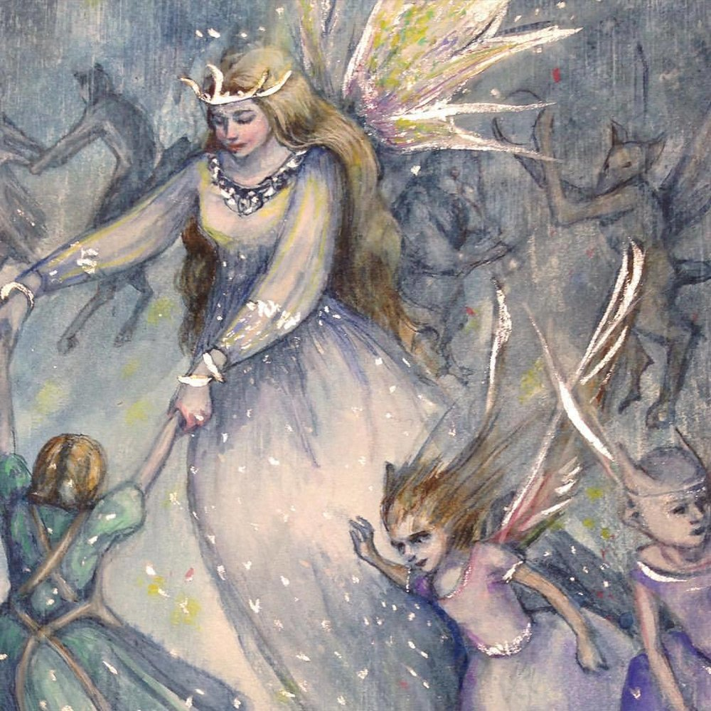 "Fairy Revel, 2015, watercolour and gouache on 9x5"" board with Daniel Smith watercolor ground #2015 #belindaillustrates #fairies #watercolor #gouache #danielsmithwatercolorground #danielsmith"