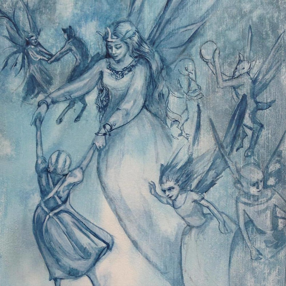 """WIP for Illustrators Australia 9x5 exhibition """"play"""" thought a Fairy Revel involving a child kidnapping was appropriate hehe… Naughty fairies! #2015 #belindaillustrates #watercolorpainting #fairyrevels #fairies #blue #traditional #illustration #watercolor #illustratorsaustralia"""