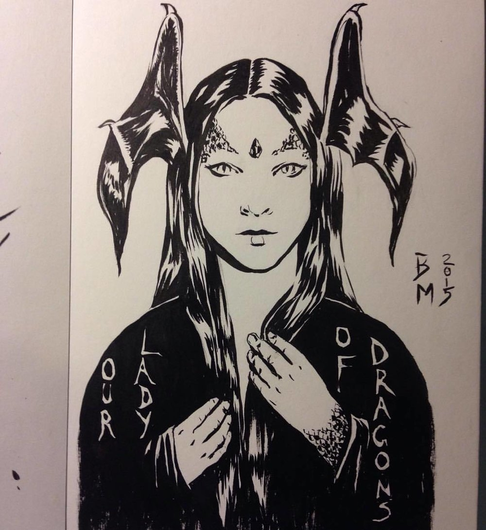 """""""Our Lady of Dragons"""" Inktober prompt was dragons so I thought I'd approach this as if the image was for a religious icon. Used Japanese brush pen for this ☺️ new favourite inking tool. #Inktober #belindaillustrates #dragon #lady #dragonlady #fantasyportrait #blackandwhite #ink #brushpen #2015"""