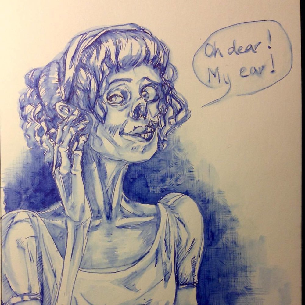Oh Dear My Ear! Pride and Prejudice and Zombies inspired zombie 😉 #Inktober #prideandprejudiceandzombies #zombie #2015 #belindaillustrates #ink #blue #blueink #lamypen #inkandwash