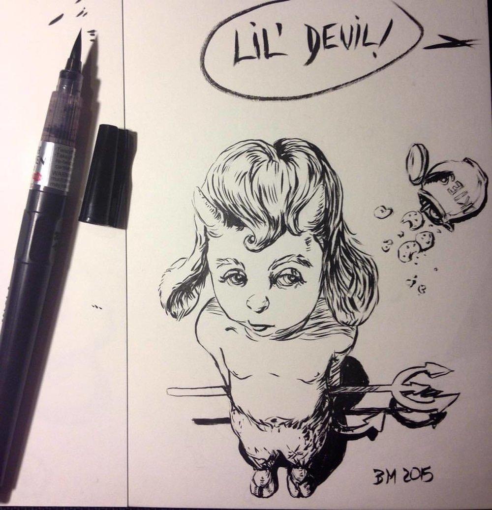 """""""Lil' Devil!"""" #belindaillustrates #day9 #ink #Inktober #devil #cute #brushpen"""