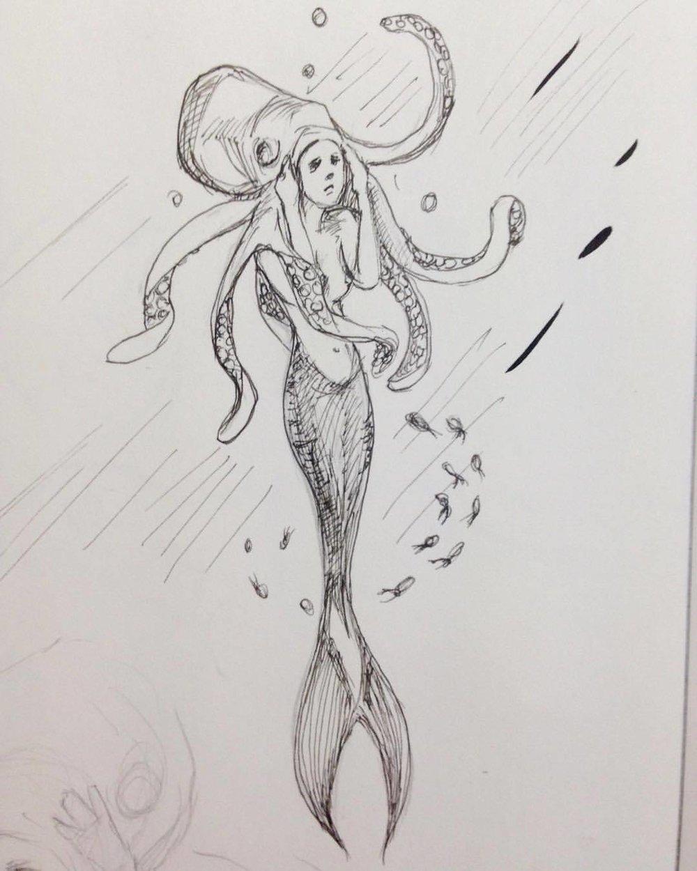 Mermaid fashion for the races 😉 #Inktober #ink #mermaid #day9 #belindaillustrates