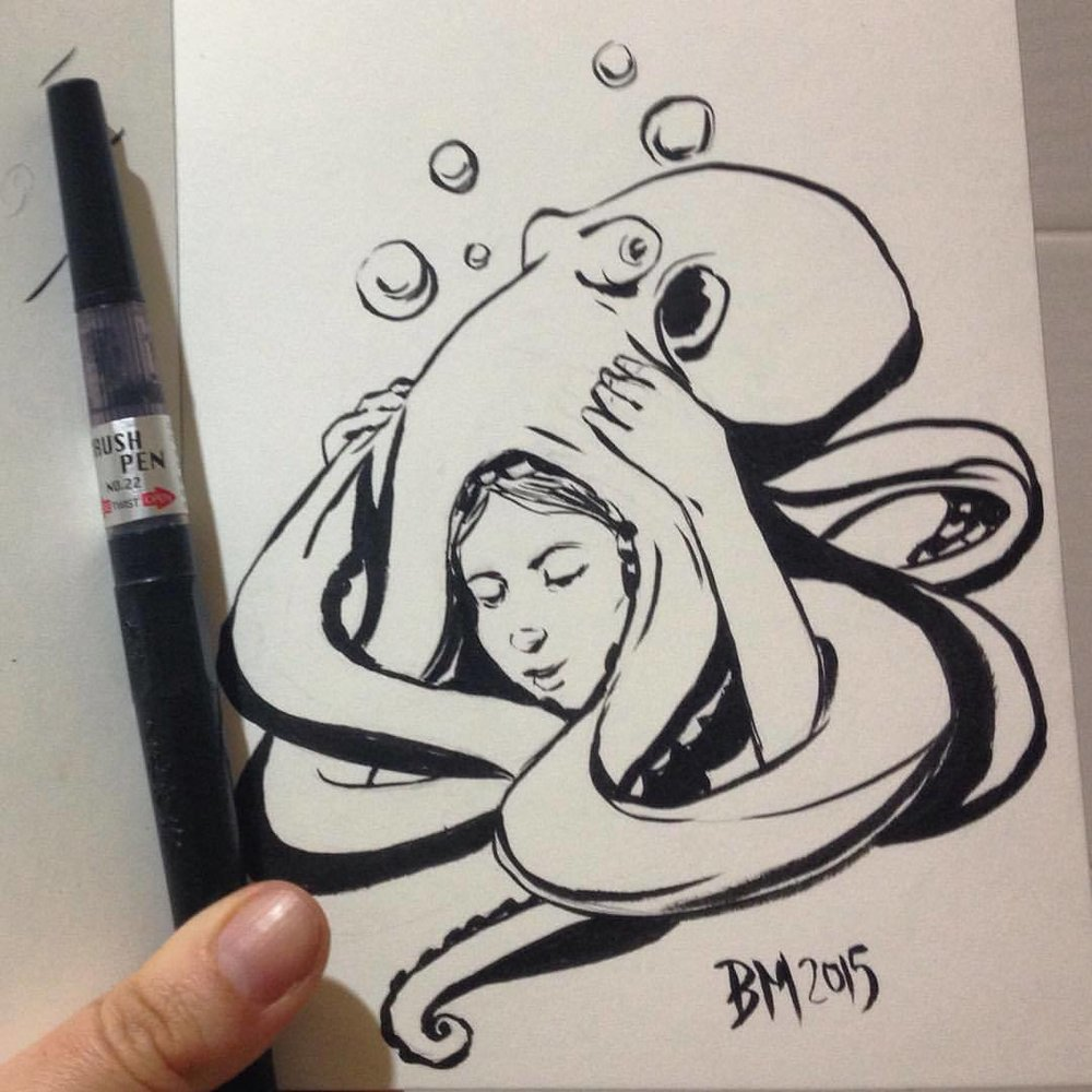 """""""Bad Hair Day"""" first time using this brand of brush pen, bit rusty but great pen to use ☺️ #Inktober #day8 #ink #belindaillustrates #monstergirl #octopus #hair #badhairday #2015"""