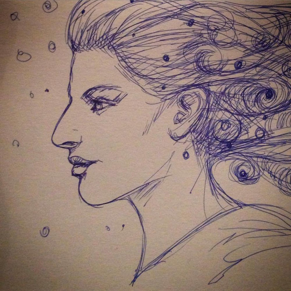 """Starry Hair"" #2015 #Inktober #belindaillustrates #blue #ink #day7 #profile #portrait"