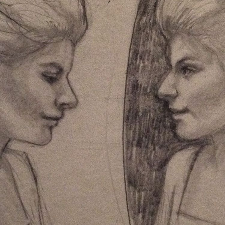 """""""Mirrors"""" WIP for Month of Fear #mirrors #reflection #wip #pencil #belindaillustrates #2015"""