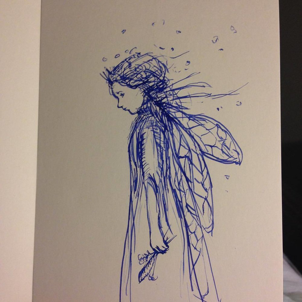 Poor fairy isn't feeling well today, hopefully tomorrow will be better #belindaillustrates #Inktober #blue  #fairy #ink #sketch #2015 #day6