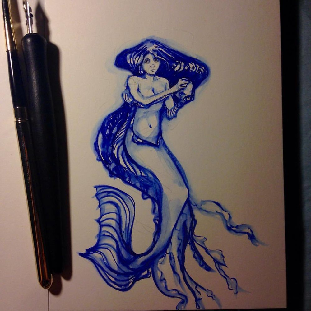 #Inktober #mermaid #monstergirls #skull #blue #ink #belindaillustrates