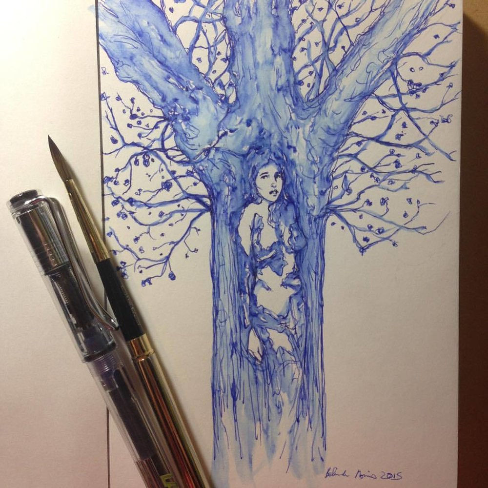 An unwilling dryad being lured from her tree #Inktober #blue #pen #lamy #brush #belindaillustrates #day4 #dryad #tree