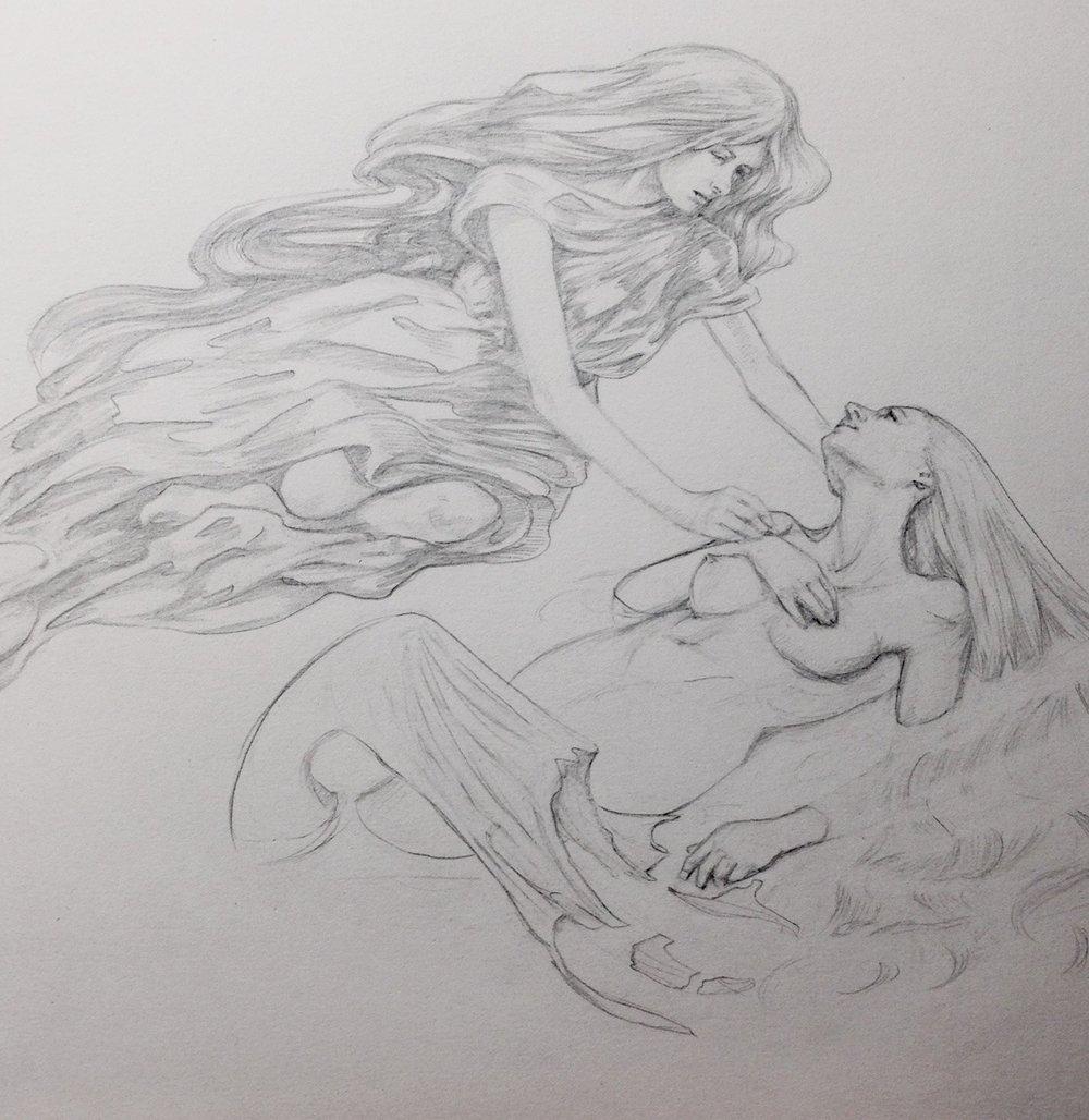 belindaillustrates :     The Nephelai comforting the Mermaid      #nephelai #artorder #mermaid #belindaillustrates #sketch