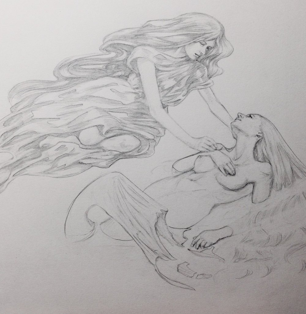 The Nephelai comforting the Mermaid