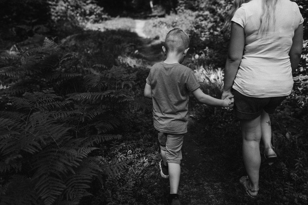 Mum and son walk