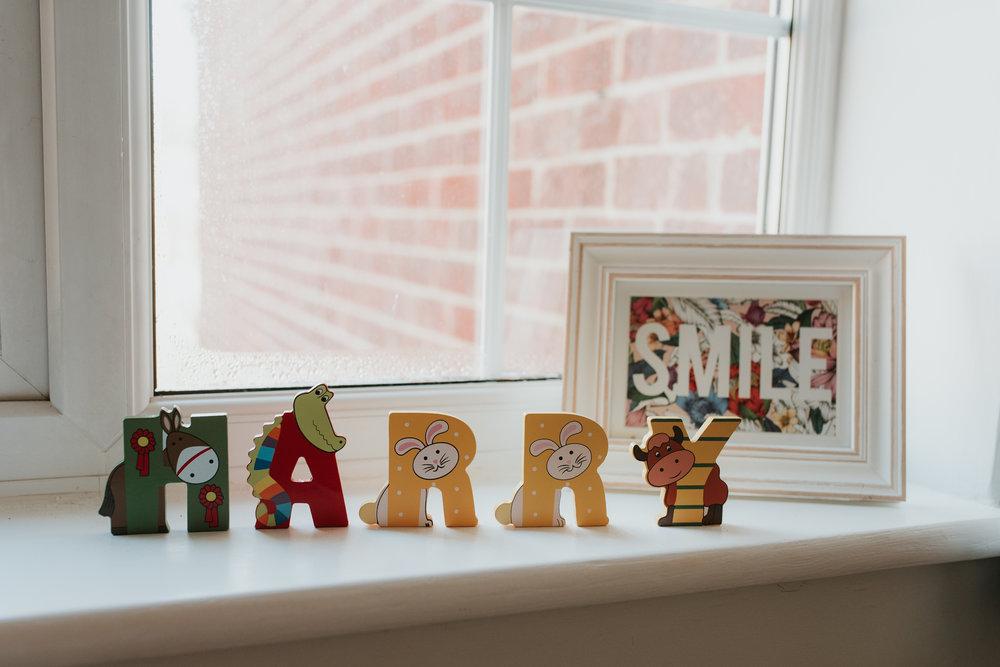 wooden letters in baby's bedroom