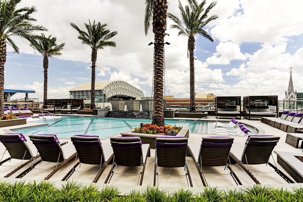 The property includes a 21,500 square- foot pool deck.