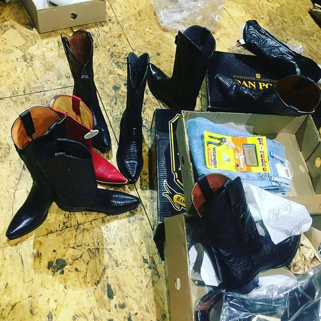 Someone had fun shopping for boots 😂👢 We're OPEN!! #vintageboots #vintageclothes #cowboyboots #newyork  shop IN-STORE or directly with one of our sales staff on Messenger! 🐎 Visit us | 392 Broadway | Cowboys & Cowgirls Welcome | NYC #westernfashion #jewelry #buckle #belt #navaho #texas #buckle #homedecor #recordcollection #vintagestyle #accessories #newyork #westernstyle #bags  #westernfashion #handmade #vintageboots #bags #nativeamerican #cowboyboots #cowgirlboots #horses #nativeamerican #tribal #boho #interiordesign #boots #bucklestyle