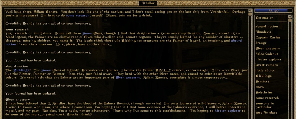 Example of a topic based dialogue system from Morrowind