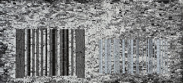 Jack Whitten, Bar Code II: Lateral Shift (2008), Acrylic on canvas