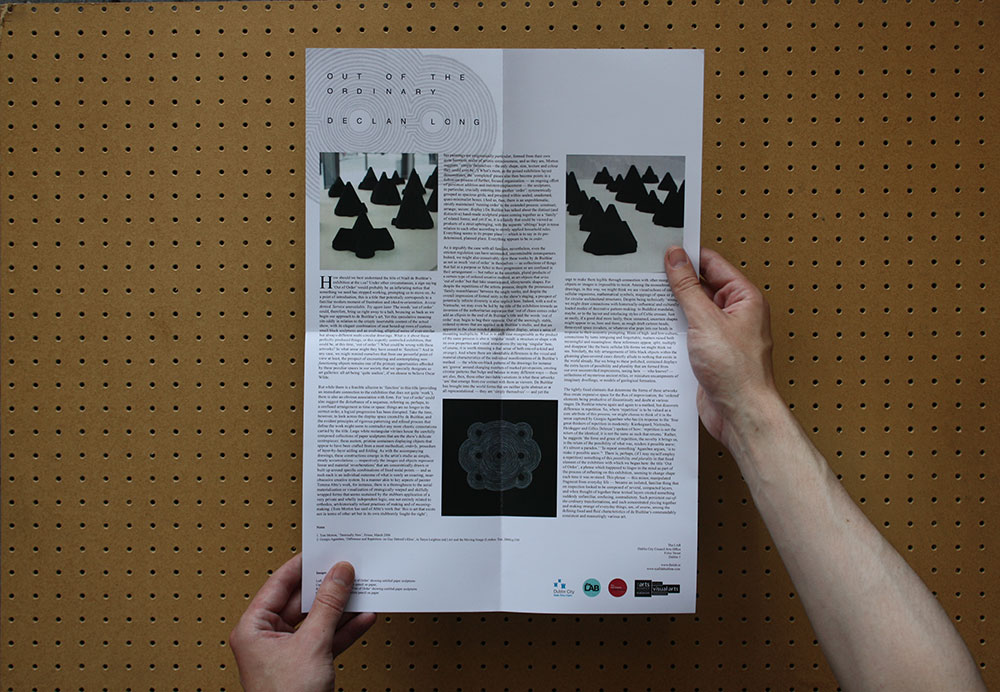 Leaflet produced for the exhibition featuring a text by Declan Long.  A PDF can be downloaded here .