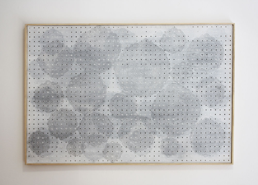 Untitled , pencil and acrylic on pegboard