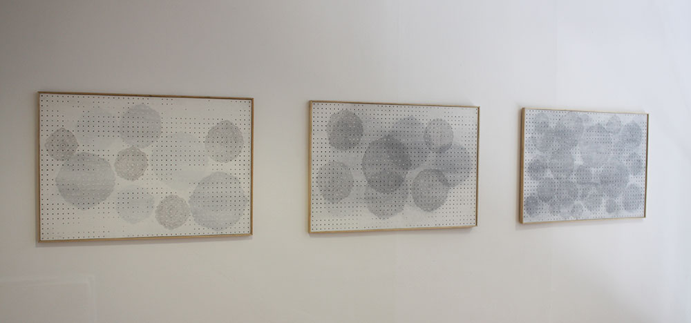 Three  Untitled  drawings, pencil and acrylic on pegboard