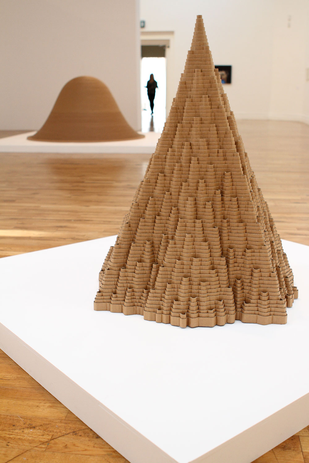 installation view of cardboard sculptures