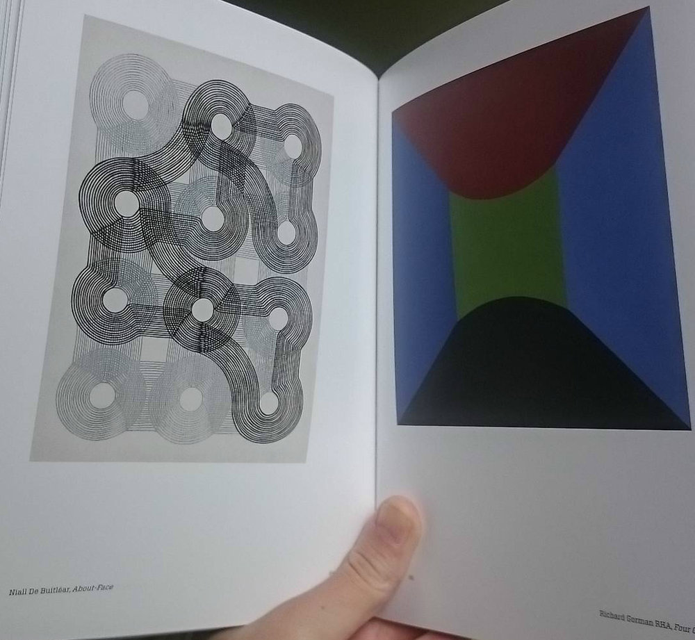 RHA catalogue showing my work on the left opposite a painting by Richard Gorman