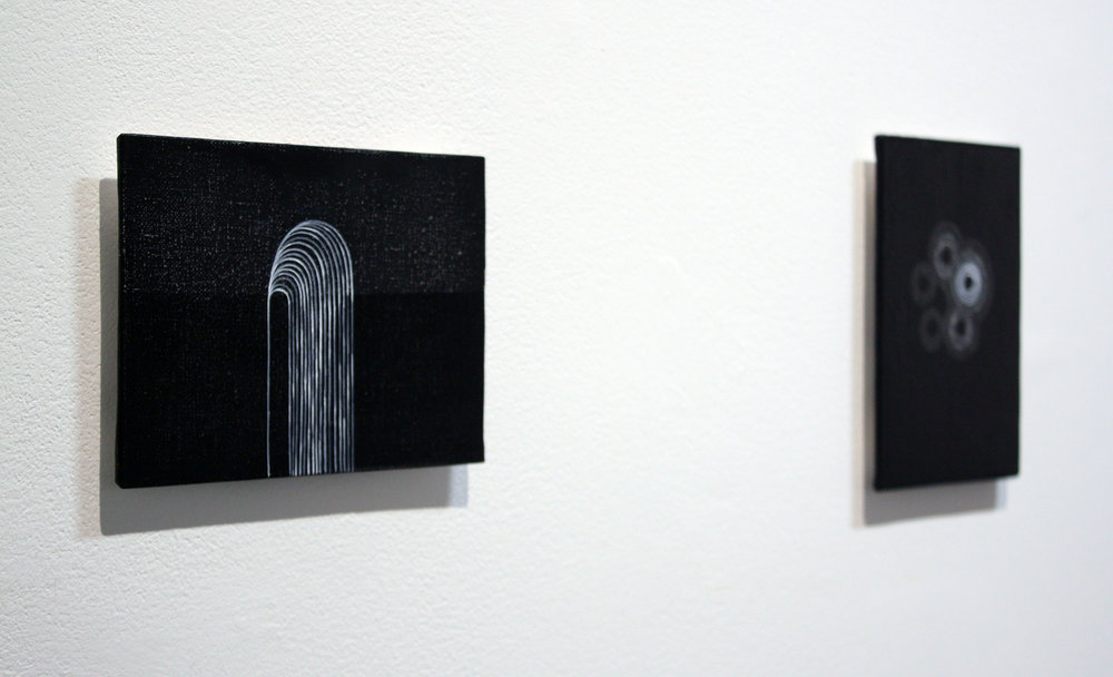 Looming,  acrylic on canvas board (left)   and  Pulse , acrylic on canvas board (right)