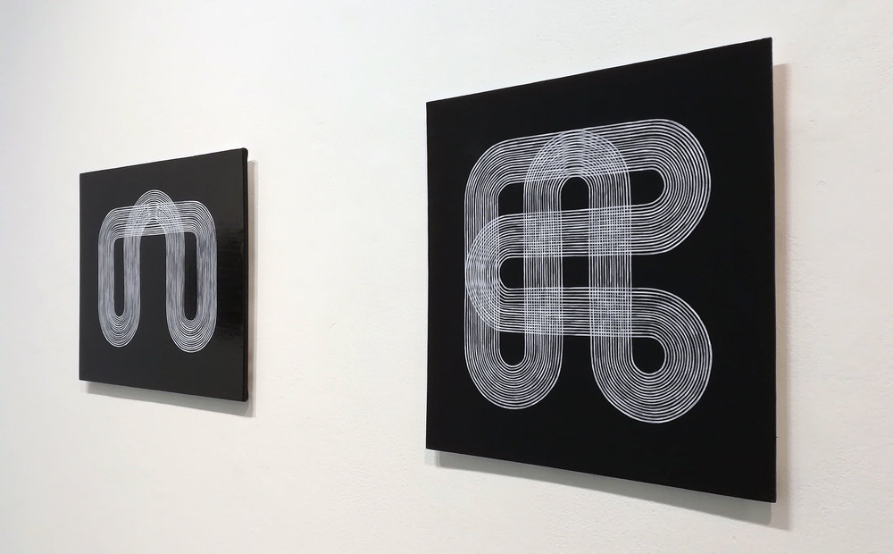 Yoke , acrylic on canvas over board (left) and  Circuit , acrylic on canvas board (right)