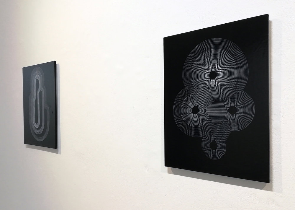 Foetal , acrylic on canvas over board (right) and  Vessel , acrylic on canvas over board (left) and