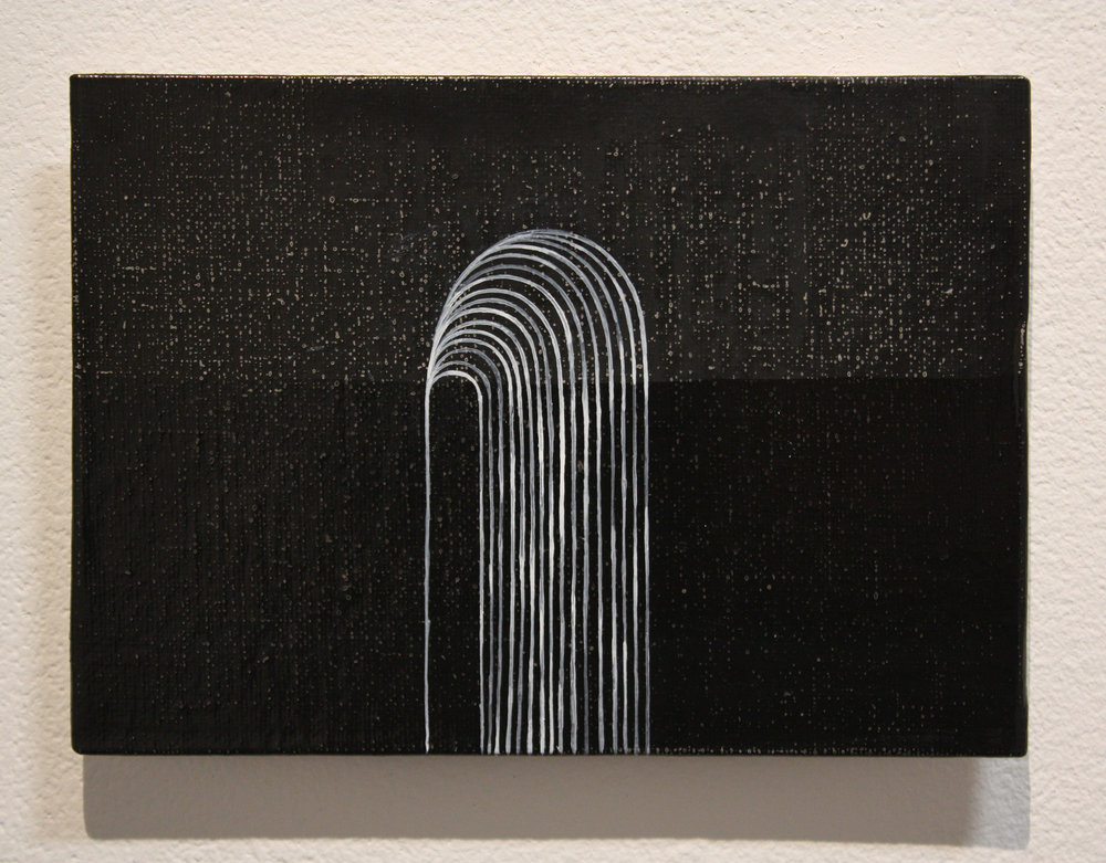 Looming, acrylic on canvas board