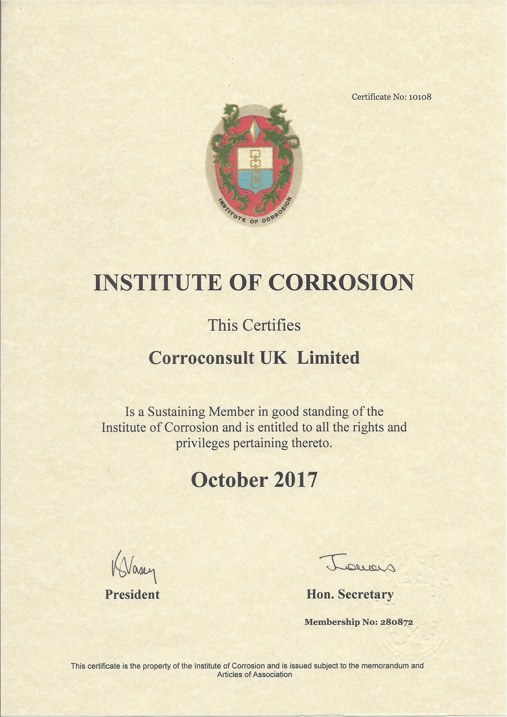 Institute of Corrosion - Corroconsult UK Limited are pleased to renew their association with the Institute of Corrosion (iCorr) as a Sustaining Member.