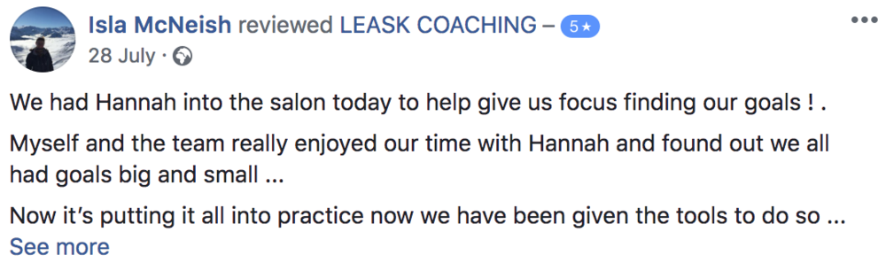 Edinburgh Life Coaching 5 star review