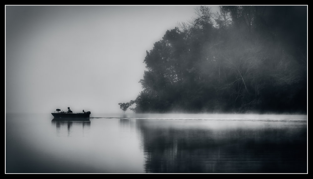 The Fisherman - Nikon D750, 1/320 @ f/11, ISO200, 120mm - Silver Efex Pro - A lake in Ohio on an early Fall morning.