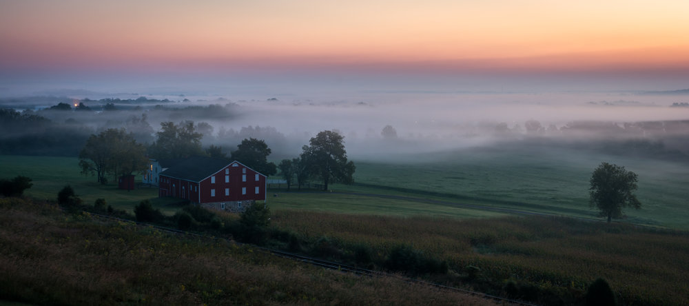 Gettysburg Dawn - Nikon D7100 - September sunrise from an observation tower on the first day's battlefield. Gettysburg National Military Park. This photograph appeared in a juried show.