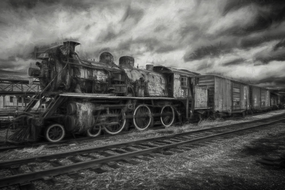 Ghost Train - D750, ISO 400, Converted to black and white in Nix Silver Efex Pro, Processed in Topaz Impressions 2 - This photo was shot at Steamtown in Pennsylvania.