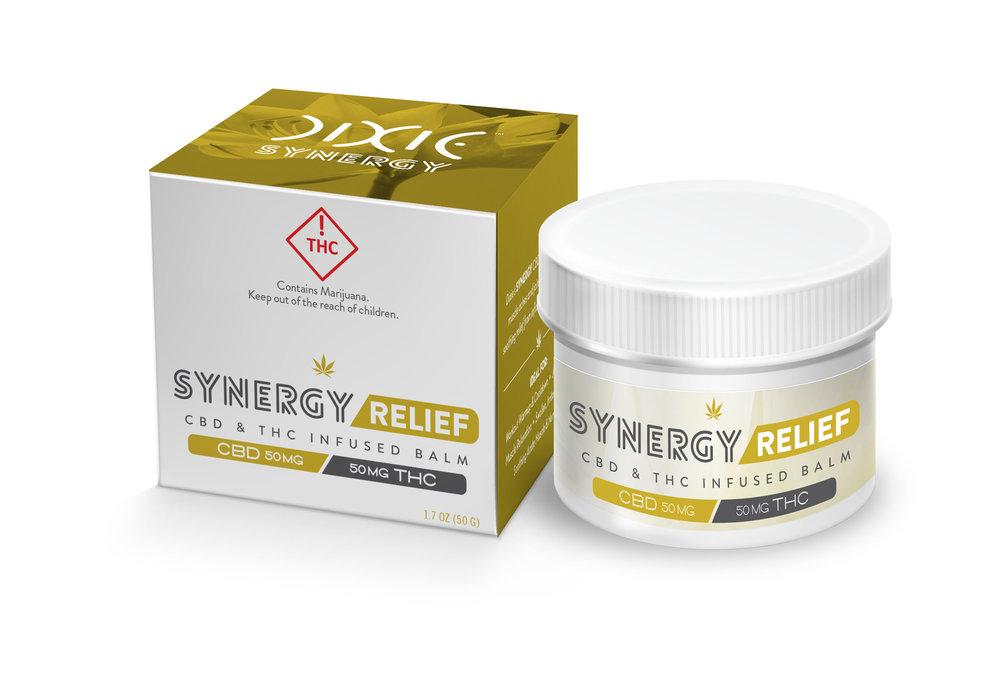 Synergy Relief Balm  ( 1:1 CBD:THC ) - available in 1 oz., $50     Image via  Dixie Elixers