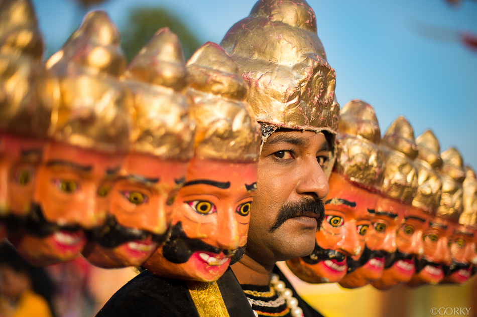An actor dressed as the demon King Raavan