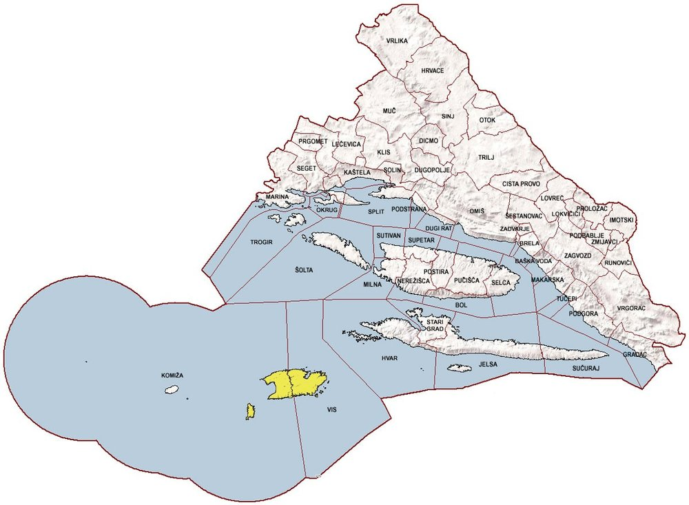 Administrative map of Vis